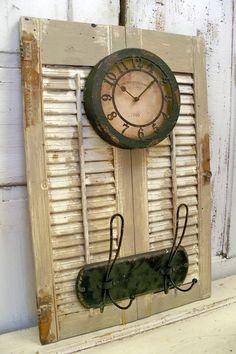 Wood shutter adorned clock coat rack by AnitaSperoDesign on Etsy, $165.00
