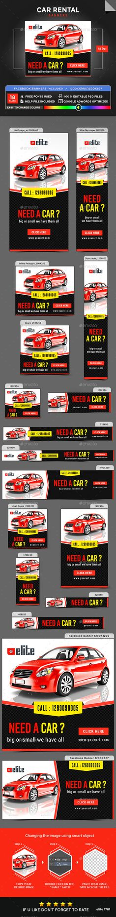 Car Rental Banners Design Template - Banners & Ads Web Element Template PSD. Download here: https://graphicriver.net/item/car-rental-banners/17728331?s_rank=27&ref=yinkira