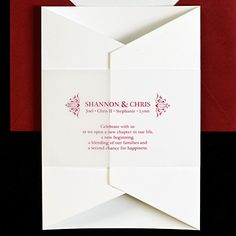 Our stylish gatefold invitation invites guests to celebrate a new chapter in your life: your joining as a couple or as a blended family. A vellum bellyband encircling the invitation displays your names and, if you choose, those of your children, plus a quotation provided by you.
