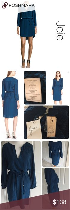 """NWT Joie Ksora silk dress size S NWT. Small flaw-  the 2 side loops that you thread the belt through are broken but it doesn't prevent any problem wearing it and is not noticeable. ♦️Materials- 100% silk♦️laying flat armpit to armpit is 18.5"""" ♦️laying flat- top of neckline to bottom of front hem is 36"""" Joie Dresses Midi"""