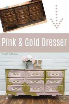 Creating a pink and gold dreamy feminine look on this French Provincial dresser is easy with just a few great products! See the tutorial here. #paintedfurniture #dixiebellepaint #bestpaintonplanetearth Diy Furniture Projects, My Furniture, Upcycled Furniture, Painted Furniture, Painted Dressers, Diy Dresser Makeover, Diy Nightstand, Furniture Makeover, Chalk Paint Dresser