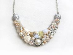 Peach, Ivory, Gold - Handmade Statement Necklace - Neck Swag - Bib Necklace - Maid of Honor - Bridal - Wedding - Classic - Vintage - OOAK on Etsy, $58.00