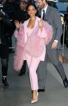 Rihanna Fur Scarf - Rihanna added an extra pop of pink with a fur scarf, also by Pascal Millet.
