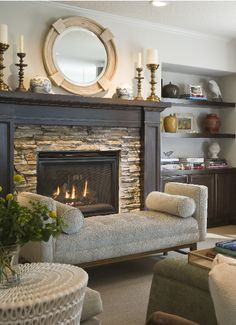 fireplace...love the stacked stone.
