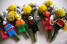 Grey and Yellow Wedding, LEGO, Superhero, Boutonnière, Billy Balls, Grey Satin Ribbon Photo Credits: Stories.my