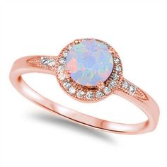 Pink Rose Gold Solid 925 Sterling Silver 0.50 Carat Round Lab Created White Opal Halo Solitaire Accent Wedding Engagement Anniversary Ring by BlueAppleJewelry on Etsy https://www.etsy.com/listing/264859674/pink-rose-gold-solid-925-sterling-silver