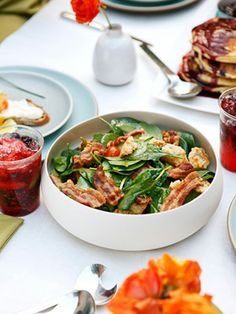 Curtis Stone's Baby Spinach Salad with Crispy Bacon and Cheese Croutons