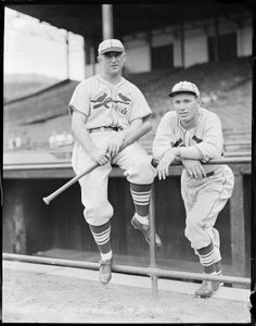 Frankie Frisch and Dizzy Dean along the dugout railing at Braves Field, 1934-38
