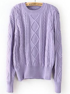 Purple Puff Long Sleeve Cable Knit Sweater EUR€24.61