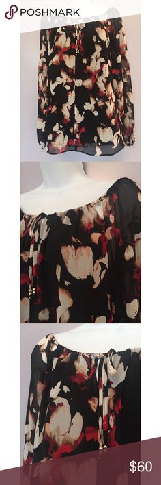{WHBM} Floral Off-The-Shoulder Blouse Floral off-the-shoulder blouse. Gold beads at neckline decorate this adjustable neck top with keyhole front. Body is lined. 100% polyester. White House Black Market Tops