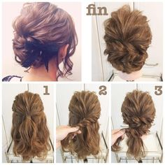 Pin by Victoria Kitchens-Swindle on The hair Wedding Ponytail Hairstyles, Work Hairstyles, Homecoming Hairstyles, Bridesmaid Hair, Prom Hair, Medium Hair Styles, Curly Hair Styles, Chignon Simple, Hair Arrange