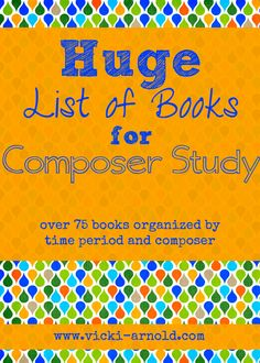 HUGE list of books for composer study! Over 75 books organized by time period and composer. There is also a list of bonus activities! Morehouse Morehouse Guffey, maybe this would help you with your music instruction :) Piano Lessons, Music Lessons, Middle School Music, Music And Movement, Piano Teaching, Music Activities, Elementary Music, Music For Kids, Music Classroom