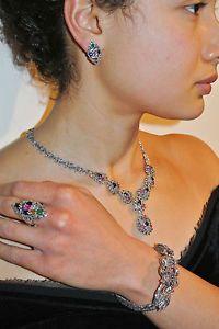 Sapphire Ruby Emerald Marcasite Necklace Bracelet Ring Earrings | eBay