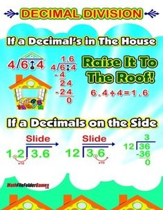 Decimal Division = Poster/Anchor Chart with Cards for Students  http://www.teacherspayteachers.com/Product/Decimal-Division-PosterAnchor-Chart-with-Cards-for-Students-1327443