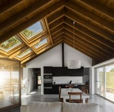 Lovely warm wood ceiling, white walls and concrete floors. Openings to hall and pantry are spot (too low? Contemporary Architecture, Interior Architecture, Interior Design, Interior Doors, Latest House Designs, Boutique Homes, Wood Ceilings, Concrete Floors, Amazing Bathrooms