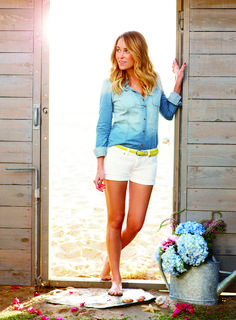 Lauren Conrad in summer uniform we're dreaming of: a denim shirt and white shorts