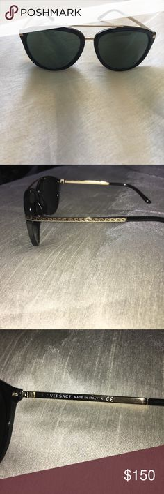 Versace Sunglasses (Polarized) Style: Shield Frame material: Plastic Lens material: Polycarbonate Case Type: No Case Looks best on these face shapes: Fit: Standard Eye Size: 58 Bridge/Temple Size: 17/140                                          Pilot style features clean lines and a full rim frame. Paired with thin, contemporary metal temples garnished with the Greca key pattern, this style offers an iconic, elegant final touch to your look. Versace Accessories Glasses