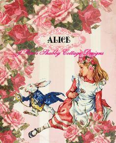 Alice In Wonderland Altered Art w White by JRaesShabbyCottage, $9.00