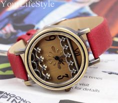 Metal Lace Watch, Women Leather Watch,Special gift from yourlifestyle by DaWanda.com