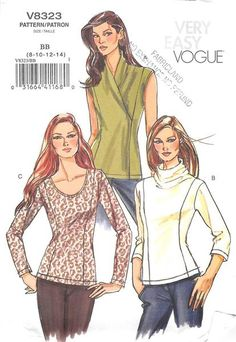 VOGUE 8323 - FROM 2007 - UNCUT - MISSES TOPS