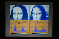 "A screen displays scientific tests made on the ""Isleworth Mona Lisa,"" left, and the Louvre's version of Leonardo da Vinci's masterpiece. Photo by Fabrice Coffrini/AFP/Getty Images"