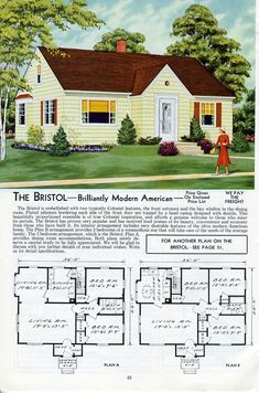 The Bristol - Aladdin 1953   See more Aladdin Kit Homes from…   Flickr Sims House Plans, Small House Plans, House Floor Plans, Minimal Traditional, Traditional Style Homes, The Sims, Sims 2, Vintage House Plans, Vintage Homes