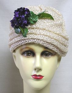 Vintage Woman's Hat by Gertrude Loosely Woven Wht Straw Turban w Violets