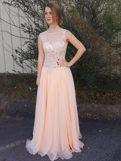 New Long Prom Dresses,A-line Pink Formal Dresses,Scoop Neck Chiffon Tulle Appliques Lace Backless Evening Party Dresses