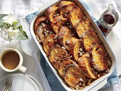Orange-Vanilla French Toast Casserole with Bourbon-Maple Syrup Vanilla French Toast, French Toast Bake, French Toast Casserole, Breakfast Dishes, Breakfast Recipes, Breakfast Ideas, Brunch Dishes, Bourbon Maple Syrup, Overnight French Toast