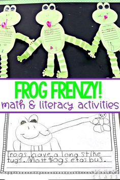 Frog Frenzy is a K-1 nonfiction unit of study about frogs. Students read and write about frogs, play math and literacy games, and create a craft, too! #kindergarten #firstgrade #frogfrenzy #nonfictionunit #allaboutfrogs