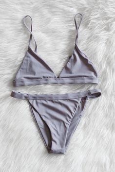 Grey Minimalist Bikini Set