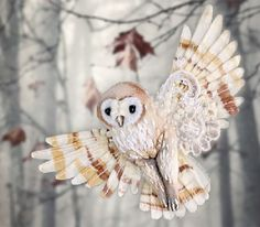 Miniature handmade brooch 'Owl'. Julia Gorina