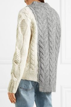 MONCLER cozy Two-tone cable-knit sweater - Humble & Rich Boutique Cable Knitting, Sweater Knitting Patterns, Knit Patterns, Hand Knitting, Knitwear Fashion, Knit Fashion, Cable Knit Sweaters, Refashion, Knit Crochet