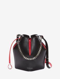 ALEXANDER MCQUEEN The Bucket Bag The Bucket Bag Woman f Chanel Handbags, Fashion Handbags, Purses And Handbags, Calf Leather, Leather Bag, Alexander Mcqueen Bag, Latest Bags, Luxury Bags, Handbags Michael Kors