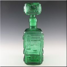 Empoli Italian Green Glass Geometric Decanter/Bottle