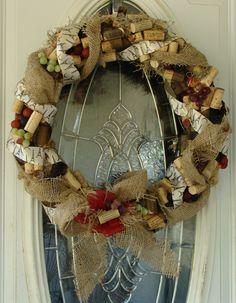 Wine Cork Paris Themed Grapevine Burlap Wreath. $65.00, via Etsy.    For the holidays?
