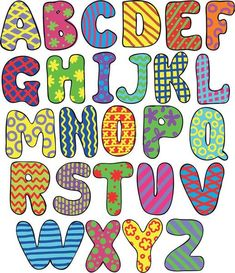 Illustration about Colorful whimsical hand-drawn alphabet. Illustration of game, graphic, forms - 26620626 Fonte Alphabet, Alphabet Art, Alphabet Games, Alphabet Design, Alphabet Letter Templates, Alphabet And Numbers, Creative Lettering, Lettering Styles, Coloring Pages