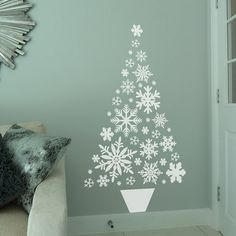 Easy Ideas for Handmade Christmas Decor. Spread holiday cheer with these Wall Christmas Tree - Alternative Christmas Tree Ideas and other holiday ideas. Large Christmas Tree, Alternative Christmas Tree, Xmas Tree, Christmas Home, Christmas Tree Wall Decal, Fir Tree, Christmas Ornaments, Handmade Christmas Decorations, Tree Decorations