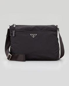Prada - Vela Zip-Top Messenger Bag, Black