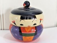 Vintage 1950s Japanese Kokeshi Hand Painted Lacquer Lucite Japan