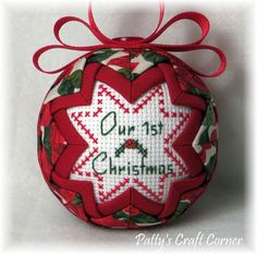 Quilted Keepsake Ornament  Our 1st Christmas by PattysCraftCorner