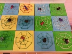 1.-2. lk puutyö. Maalattu pulloväreillä ja pujoteltu puuvillalangasta seitti nauloihin. Hämikset tehty paperimassasta ja jalat rautalangasta.