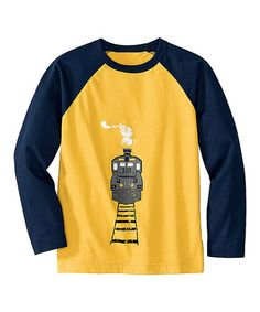Take a look at this Yolk Yellow & Navy Transport Raglan Tee - Infant, Toddler & Boys by Hanna Andersson on #zulily today!