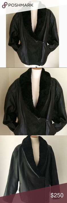 Vintage 80's Black Leather and Shearling jacket