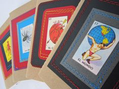 Stitched Loteria cards to make cover of Moleskin journals