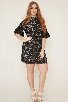 Forever 21 + - This sheath dress is crafted from knit floral lace with eyelash lace-trimmed short sleeves and hem with a concealed back zipper and a buttoned keyhole back. #forever21plus