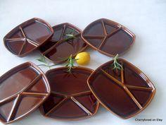 Set of six Mid Century Modern  fondue plates from by Cherryforest #micenturyplates