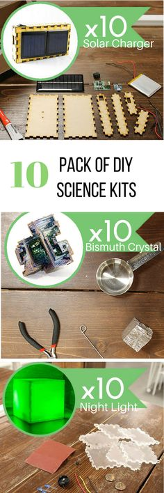 Science kits that come with all the parts you need to create the coolest projects! Perfect for teachers interested in teaching STEAM or STEM in the classroom, projects for makers, and even in the senior center! Electronic Kits, Senior Center, Science Kits, Classroom Projects, Stem Projects, Solar Charger, Night Light, Teaching, Cool Stuff