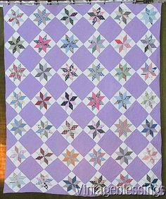 Vibrant Early 1900s Antique Purple Stars QUILT Excellent & Clean  Vintageblessings