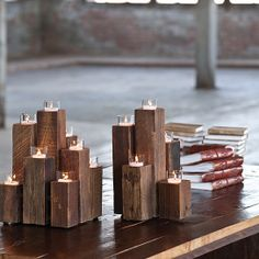 Rustic Decor-Unysyn Elm Staggered Tealight Pillars ($95 $65)  Great for a non-working fireplace!